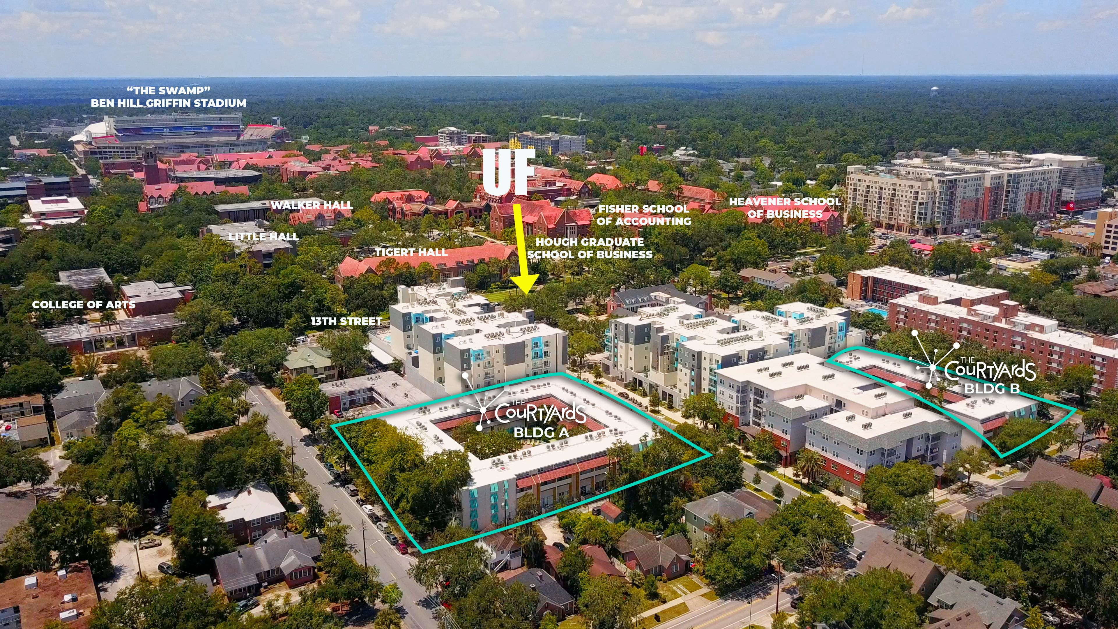 Aerial View of The Courtyards and UF