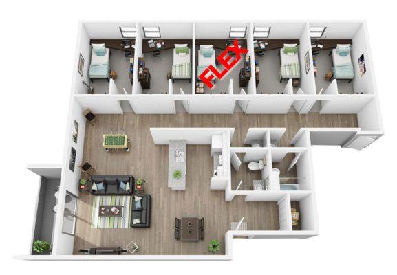 4 BD Flat With Flex Room